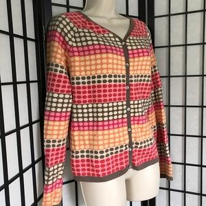Talbots Cashmere Colorful Polka Dot Cardigan